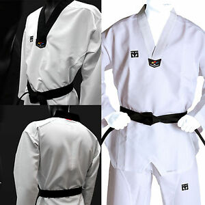 Taekwondo Uniform Suits Mooto Extera S5 Black White V Collar TKD Doboks WTF MMA