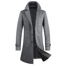 Men Winter Coat Mid Length Jacket Wool Blend Formal Evening Slim Overcoat Trench