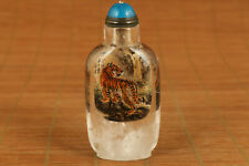 unique Natural old Crystal hand inside painting tiger figure snuff bottle
