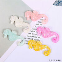 20pcs Flatback Glitter Resin Seahorse Cabochons Decors 19x41mm Craft Accessories
