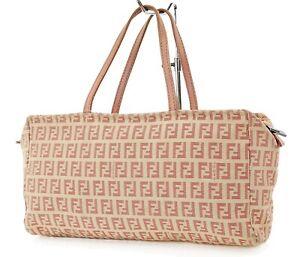Authentic FENDI Pink Zucca Canvas Small Tote Hand Bag Purse #37344