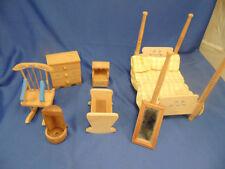 Vintage wood doll house furniture bed rocker cradle dresser mirror night table