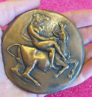 Rome- Perfect Nude Cowgirl Splendid Art Deco bronze Italian medal  75mm ,190gr