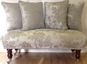 Footstool Stool Plus 4 Cushions In Laura Ashley Peony French Grey Fabric