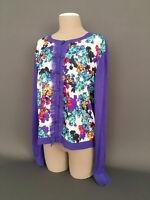 ELLEN TRACY Women's Size.XL Ruffle Front/Floral Print Cardigan Sweater