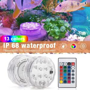 LED Underwater Lights Waterproof RGB Submersible Aquarium Pool Pond Lamps+Remote