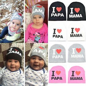 I Love Papa Mama Cap Infant Newborn Kids Baby Girl Boy Cotton Beanie Hat Gift