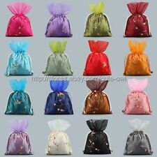 Wholesale 5pcs Chinese Handmade Mix Colors Silk Bag Purse Jewelry Bags Pouches