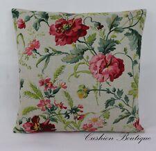"""TESUTTI """"JOIE DE VIVRE"""" Linen Fabric Cushion Cover 17""""x17"""" Country Floral"""