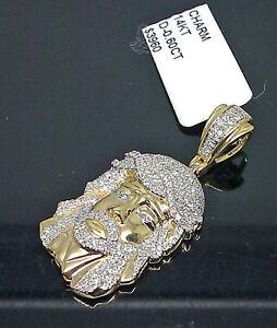 "14K Men's Yellow Gold Jesus Head Charm 0.60CT Diamond 1.5"" Long #Angel, Cross"