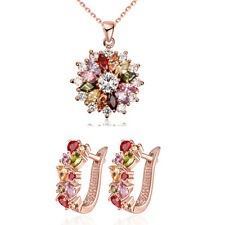 "Women's 14K Rose Gold PlatedAustrian Crystal Necklace And Earrings 18"" ITALY"