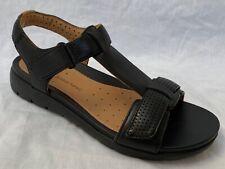 BNIB Clarks Unstructured Ladies Un Haywood Black Leather Flat Sandals