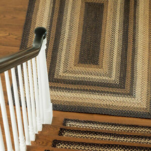 FARMHOUSE COUNTRY PRIMITIVE KILIMANJARO BLACK BRAIDED JUTE RUG ~ MULTIPLE SIZES