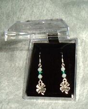 IRISH SHAMROCK EARRINGS 3 crystals Surgical Steel French Hooks NEW St Patricks