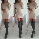 Sexy Women's Slim Bodycon Jumper Dress Knitwear Winter Mini Dress Party Clubwear