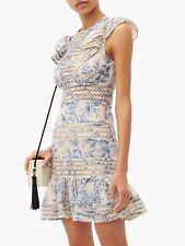 BNWT ZIMMERMANN Verity Panelled Linear Dress in Bluebird Size 1