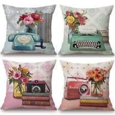 Retro Vintage Phone Cushion Cover Pillow Case Cotton Linen Sofa Car Home Decor