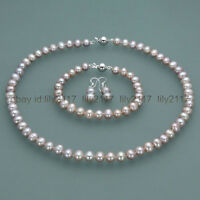 New 7-8mm Real Natural purple Freshwater Pearl Necklace Bracelet Earrings set