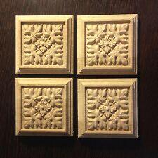 Carved Wooden Rosette carved,Deco,set of 4 pieces, 70х70х15 mm,wood, oak