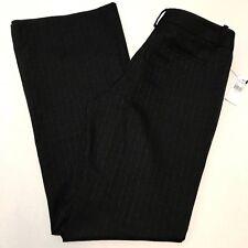 New Tahari 8 Black Wide Leg Print Textured Stretch Womens Dress Pants Career