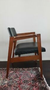 Vintage Gunlocke Armchair Lounge Chair Mid Century Modern Gray Vinyl