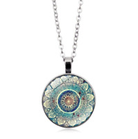 Vintage Flower Photo Cabochon Glass Pendant Tibet Silver Chain Necklace Jewelry