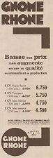 Y7645 Moto GNOME RHONE - Listino Prezzi - Pubblicità d'epoca - 1930 Old advert