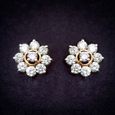 2.17 Cts Round Brilliant Cut Natural Diamonds Stud Earrings In Fine 14Carat Gold
