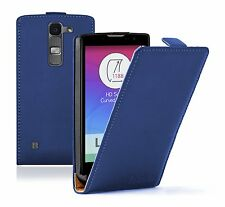 Ultra Slim BLUE Leather Flip Case Cover Pouch for LG Spirit (+2 FILMS)