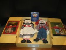 Raggedy Ann & Andy Dolls & Books In A Wooden Case Coa-Books Inscribed Inside+Htf