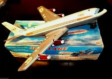 AMAZING VINTAGE RARE GREEK TIN TWA BOEING 707 JET PLANE B/O BY AA 70s LITHO BOX