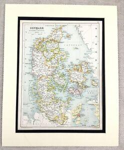 1899 Antique Map of Norway Denmark Scandinavia 19th Century Original