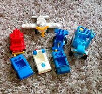 7 VINTAGE DUPLO VEHICLES SAFARI PLANE TRACTOR POLICE CAR RACE CARE AND MORE