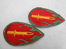 VINTAGE TWO ARMY UNIT PATCHES FLAMING SWORD