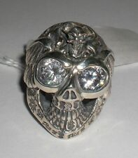 BILL WALL CUSTOM R388S GRAFFITI MASTER SKULL RING WINGS BWL CZ STONES