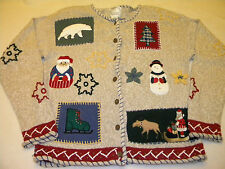 Christopher & Banks Womens Long Sleeve Button Up Ugly Sweater Size S