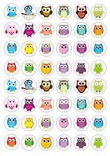 48 Owl Wafer / Rice Paper Mini Cupcake Topper Edible Fairy Cake Bun Toppers