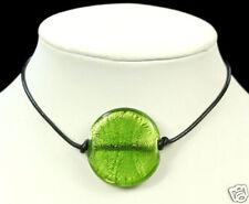 Verde Murano Foil Bolas De Cristal Colgante Collar De Cuero