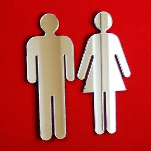 Male & Female Toilet Door Sign Acrylic Mirrors (Several Sizes Available)
