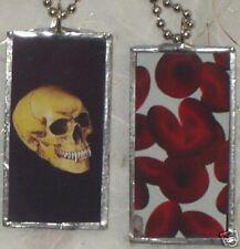 VAMPIRE SKULL / BLOOD ART GLASS PENDANT