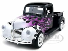 1940 FORD PICKUP TRUCK BLACK WITH FLAMES 1:18 DIECAST MODEL CAR MOTORMAX 73170