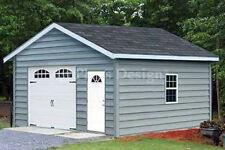 Car Garage Building Plans 18 x 20 Structure Blueprint, Design # 51820