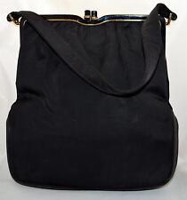 Vintage Rosenfeld Twifaille Black Cloth Handbag Purse with Enameled Top