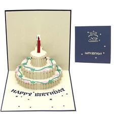 Novel 3d Pop up Happy Birthday Handmade Greeting Card Kirigami Gift for Lover Blue