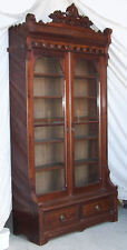 American Victorian Antique Tall Two Door Walnut Bookcase