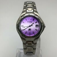 Fossil Womens Blue AM-3634 Silver Tone Purple Dial Date Quartz Analog Wristwatch