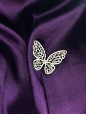 Butterfly ring cubic zirconia silver adjustable Butterflies Effect Cocktail Ring