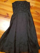 Jigsaw Black Organza Strapless Corseted Maxi Dress - Embroidered Flowers - sz 10