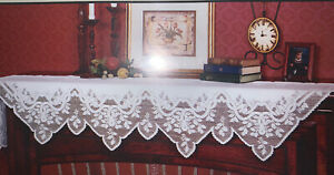 """HERITAGE LACE GREENBRIER MANTLE SCARF 20"""" X 90"""" WHITE NEW MADE IN THE USA"""