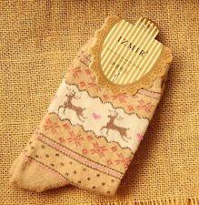 Women Winter Socks Xmas Gift Warm Wool Sock Cute Snowflake Deer Comfortable